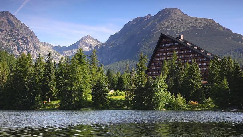 Mountain lake in National Park High Tatra. Strbske pleso, Slovakia. HD video
