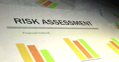 Financial Paperwork with Stock Market Ticker overlay - Risk Assessment