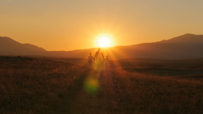The family runs to meet the sun holding hands. Backlight. Beautiful sunset. | Shutterstock HD Video #31164520