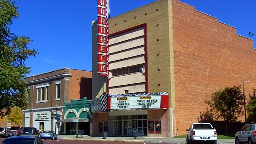 Shawnee, OK - October 18, 2012: An old style movie theater in the downtown area of this mid-American city evokes a bygone era when small businesses thrived on Main Street. Circa 2012 in Shawnee.