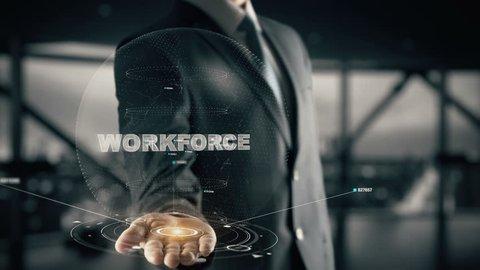 Workforce with hologram businessman concept