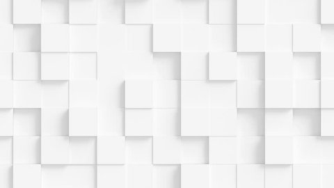 Abstract Square Geometric Surface Loop 1A: light bright clean minimal squares grid pattern, random waving motion background canvas in pure wall architectural pearl white. Seamless loop 4K UHD FullHD.