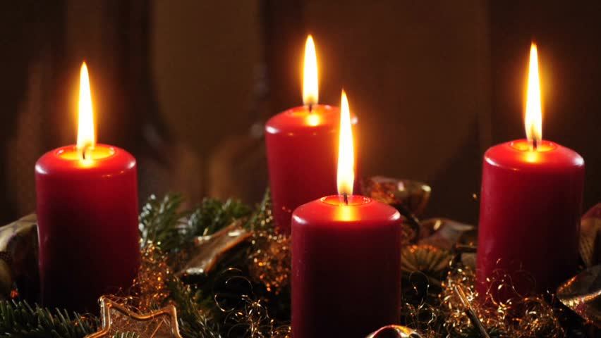 Looping. Three Red Christmas Candles Flicker Alongside ...