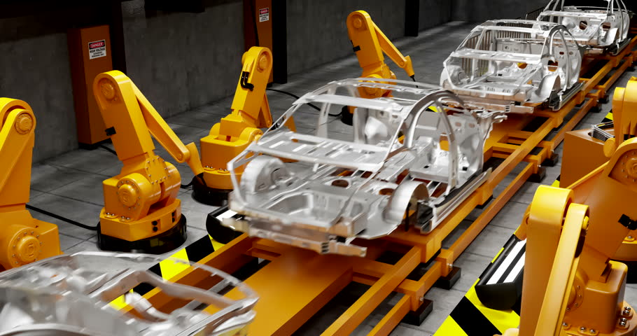 Moving transporter of conveyor belt with frameworks of unfinished cars and robots welders