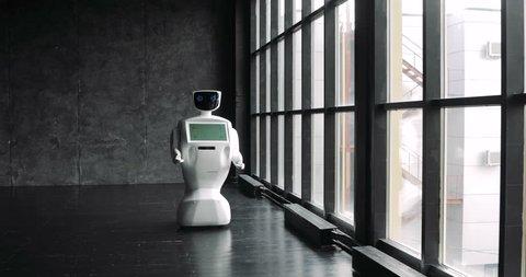 Futuristic humanoid robot Stylish robotic character slightly moving. Modern Robotic Technologies. The robot shows emotions