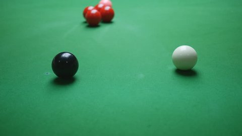 Snooker player perform screw back shot or back spin shot