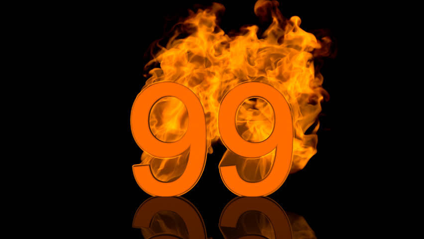 Flaming Number Ninety Nine Burning in Orange Fire Centred on Black Background as 3D rendering | Shutterstock HD Video #31267330