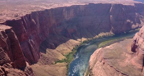 Aerial view of the Horseshoe Bend - famous meander on river Colorado near the town of Page. Arizona, USA
