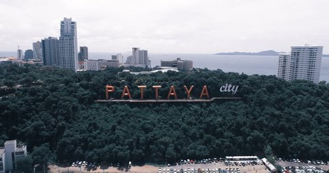 Skyline of Pattaya from aerial view, Pattaya city, Chonburi, Thailand