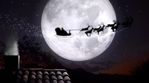 xmas night with rooftop and smoky chimney with Santa Claus sleight and reindeer silhouette flying by the moon with text space to place logo or copy.Animated Christmas present greeting post card video