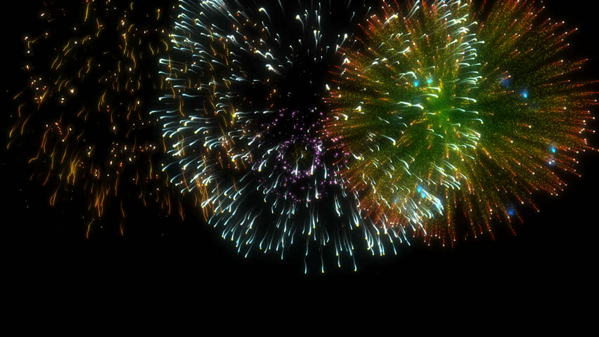 Looping Multicolored Isolated Fireworks