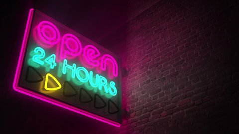 Flashing neon on a brick wall. Open 24 hours sign. CG animation.