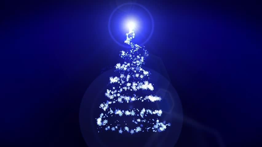 New Year's Snow Christmas Tree, Christmas Illumination Blue Background, Loop   Shutterstock HD Video #31340710
