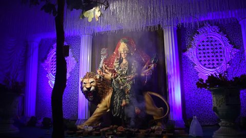 Goddess Durga idol, Sculpture of Hindu Goddess Durga.