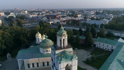 Yaroslavl Museum Reserve at sunrise. Aero panorama to the central part of the city. Summer