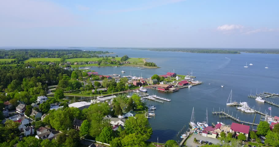 Aerial view of Chesapeake Bay and boats in Maryland | Shutterstock HD Video #31362310