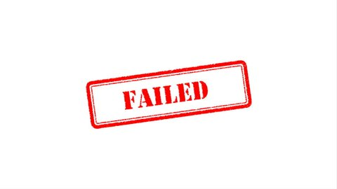 "Failed Signed with Red Ink Stamp, Red Rubber Stamp Animation of the Word ""FAILED"" on Black Background, White Background, Green Screen and Alpha Channel Included."