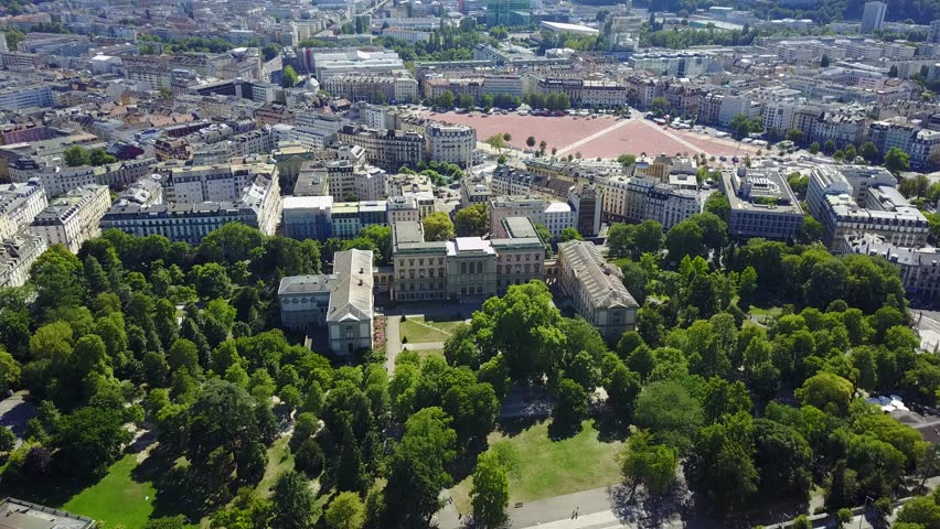 Aerial view of Park Parc des Bastions and University of Geneva, Geneva, Switzerland