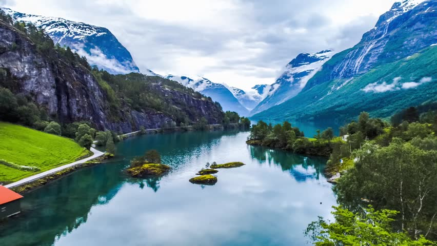 Beautiful Nature Norway natural landscape. Aerial footage lovatnet lake.   Shutterstock HD Video #31472410