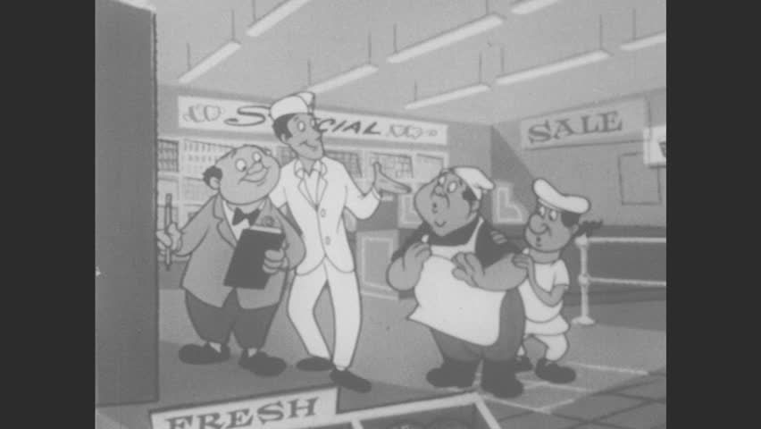 1950s: UNITED STATES: man in store talks to men. Ice cream cabinet in store. Lady takes tub of ice cream from freezer.