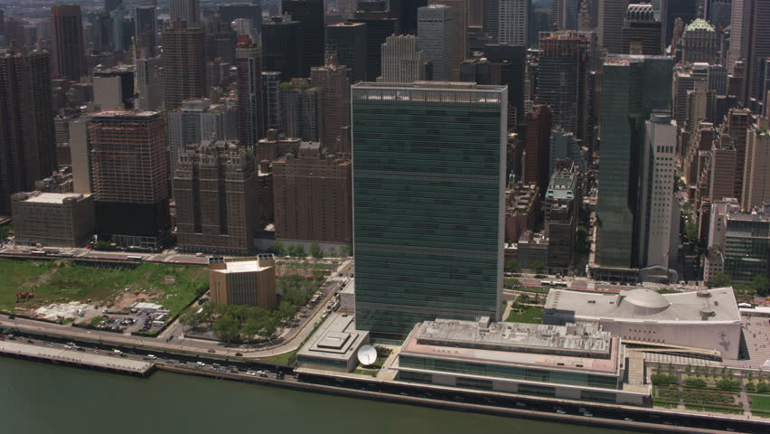 New York City, New York circa-2017, Aerial view of the United Nations Building. Shot with Cineflex and RED Epic-W Helium.
