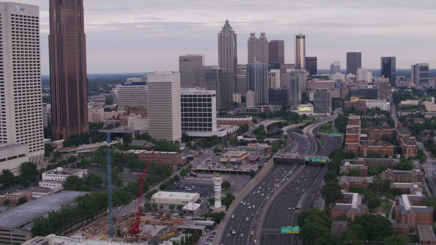 Atlanta, Georgia circa-2017, Daytime aerial shot of downtown Atlanta. Shot with Cineflex and RED Epic-W Helium.