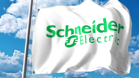 Waving flag with Schneider Electric logo against clouds and sky. 4K editorial animation