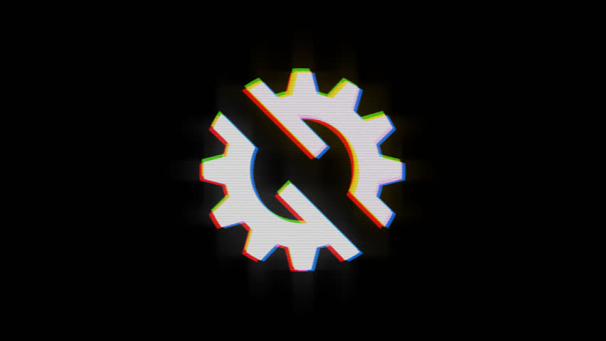 Gear glinch effect in PNG format with ALPHA transparency channel isolated on black background | Shutterstock HD Video #31567420