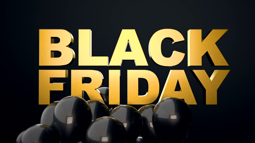 3d CGI animation of black glossy balloons flying over golden text Black Friday. Perfect video for black friday sales.