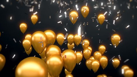 3d CGI animation of sparkling silver confetti falling on flying golden balloons. Perfect footage for celebration and party