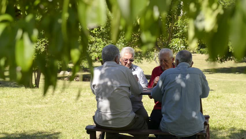 Active retired people, old friends and leisure, group of four old men having fun and playing cards game at park. Sequence of wide and medium shot