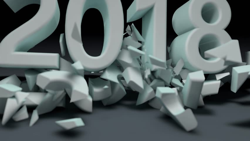 Breakdown of the year. 2018 crashes 2017. The new year comes. Animation of the destruction of 2017. Cold weather The year 2018 comes.