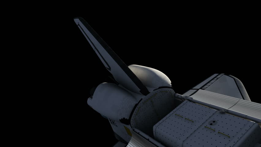Flight Of Space Shuttle With Alpha Matte. 3D Animation.