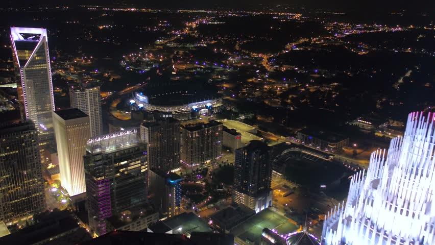 Aerial North Carolina Charlotte July 2017 Night 4K Inspire 2