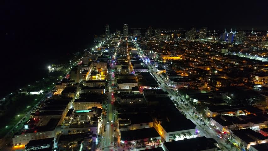Night lights Miami Beach aerial