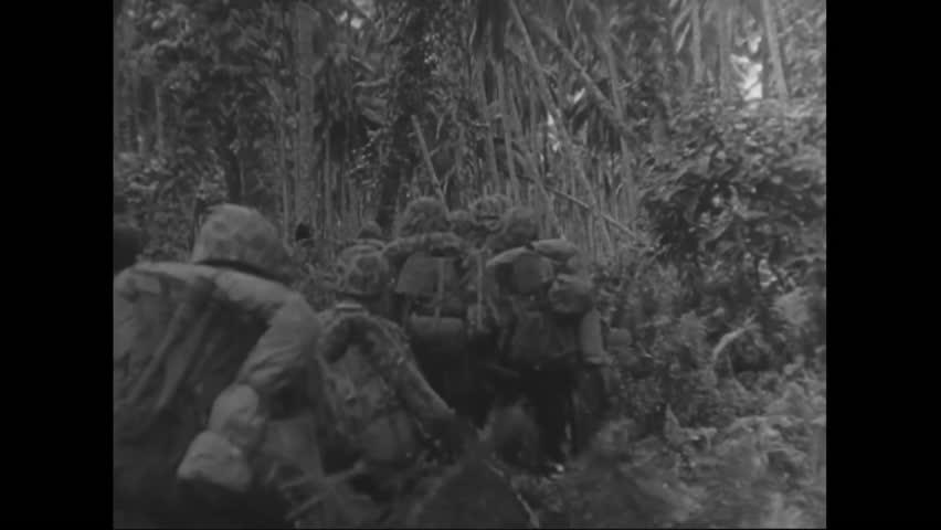 CIRCA 1943 - Troops shoot an Imperial Japanese Army sniper and move forward with a tank into the jungle firing mortar rounds and machine guns on Rendova, in the Solomon Islands, during World War 2.