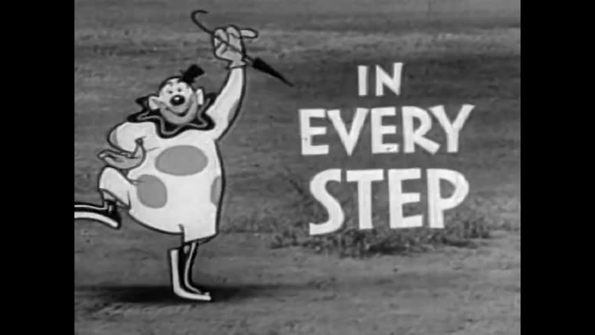 CIRCA 1958 - Campy 1958 Keds shoe commercial with an animated clown mixed in with live action.