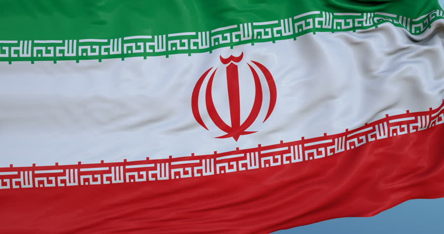 Seamlessly Looping flag for Iran, blowing beautifully in the wind. Slo-Motion. Available in 4K.