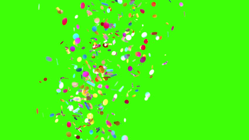 Confetti Party Popper Explosions on a Green Background. 3d animation, 4K.  | Shutterstock Video #31664557