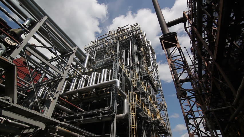 complex engineering constructions at the oil refinery | Shutterstock Video #3166912