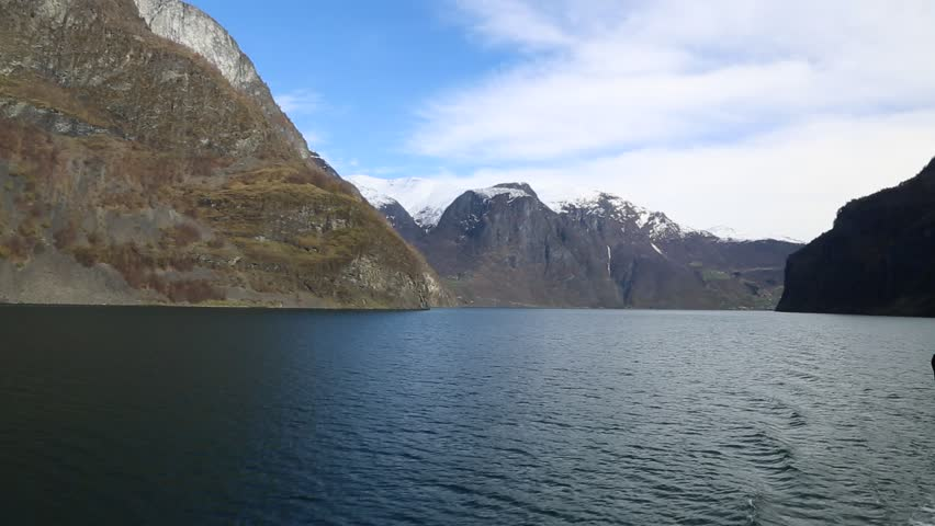 Sognefjord in Norway in a sunny day - HD stock footage clip