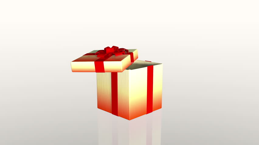 Gift boxes opening 3d animation of 6 different christmas gifts gift box opening lid to present a virtual product against white hd stock footage negle Images