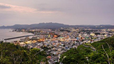 Nago, Okinawa, Japan downtown skyline.