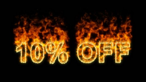Burning inscription 10% OFF about discounts. Transparency