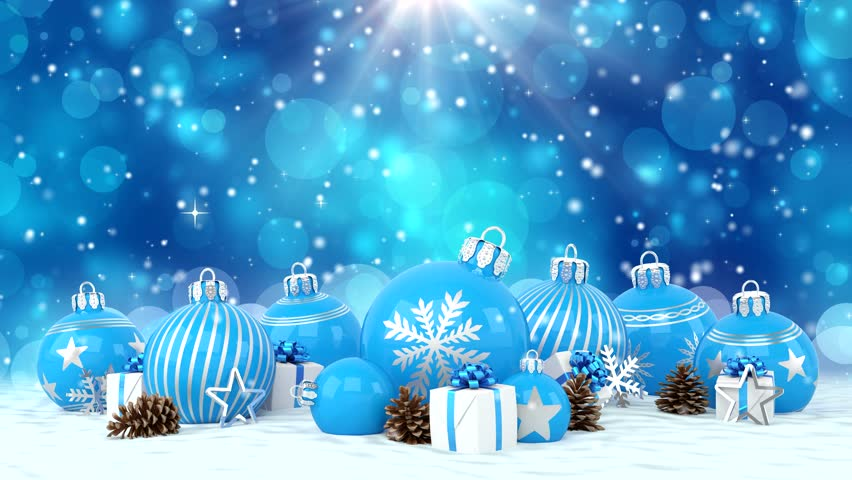4k00303d animation of many blue christmas baubles and christmas decorations over blue bokeh background merry christmas concept - Merry Christmas Background