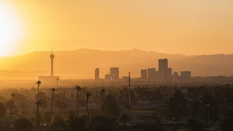 Las Vegas, Nevada, USA - October 10, 2017:  Dawn time lapse view of the Las Vegas strip skyline.