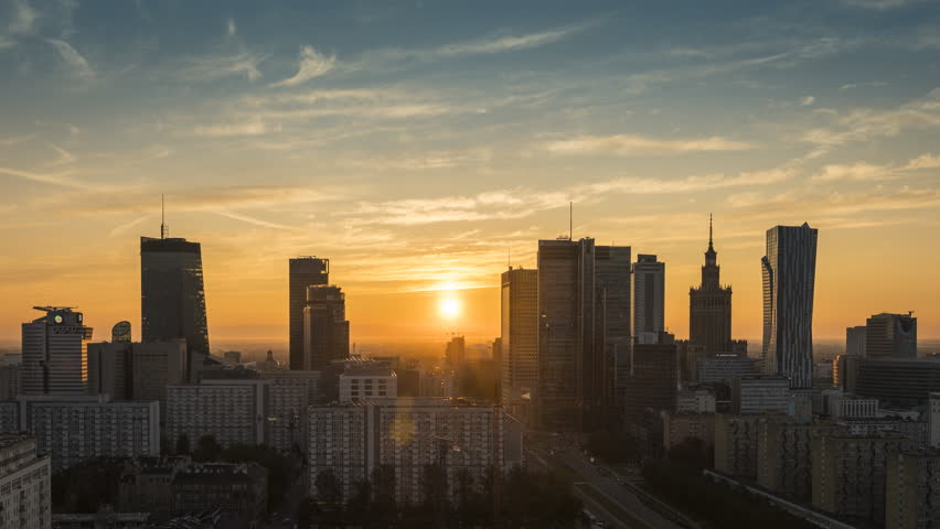 Sunrise over Warsaw downtown skyline with skyscrapers, Poland. Time lapse at dawn | Shutterstock HD Video #31786270