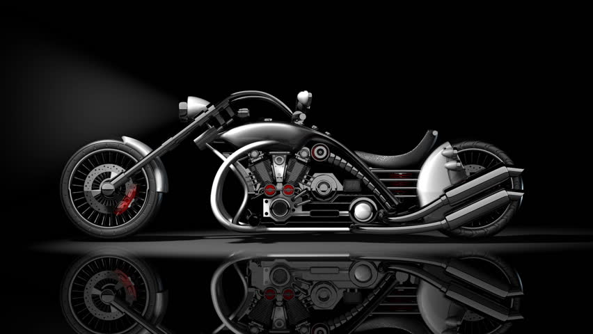 Concept Motorcycle Custom Bike White. Stock Footage Video