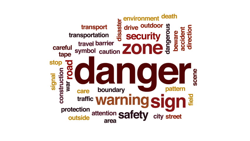 Danger animated word cloud, text design animation. #31809295