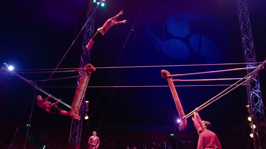 BRISTOL - October 4: Acrobats Performance at Moscow State Circus Show on October 4 2017 in Bristol, England.